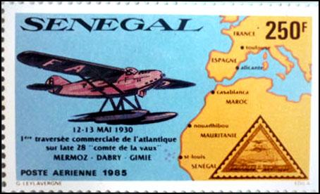 Latecoere 28 comte de la vaux timbre senegal